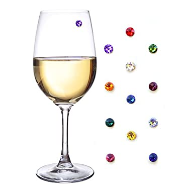 Swarovski Crystal Magnetic Wine Glass Charms Set of 12 - Entertain Elegantly with Trendy Wine Glass Markers that even work on Stemless Glasses by Simply Charmed