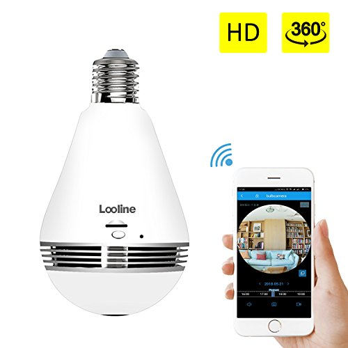 Light Bulb Camera VR Panoramic IP Wireless WiFi Camera with 360° Degree Fisheye Lens Lighting Lamp for Home Security Camera Bulb 960P HD Two-way Intercom E27 LED Dimmable Lamp(Build-in 16G TF Card) ()