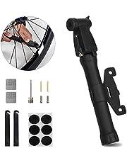 AutoWT Bomba de Aire para Bicicleta pequeña, Bomba de Bicicleta portátil Ligera con válvulas Presta Schrader Bomba de Mano de Alta presión para Bicicletas de montaña MTB BMX