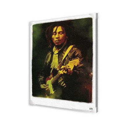 Bob Marley Playing Guitar Portrait Canvas Art, 24 by 36-Inch
