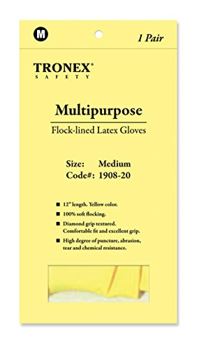 - Tronex Multipurpose Flock-Lined Latex Gloves, Large, Yellow, Pack of 144 Gloves