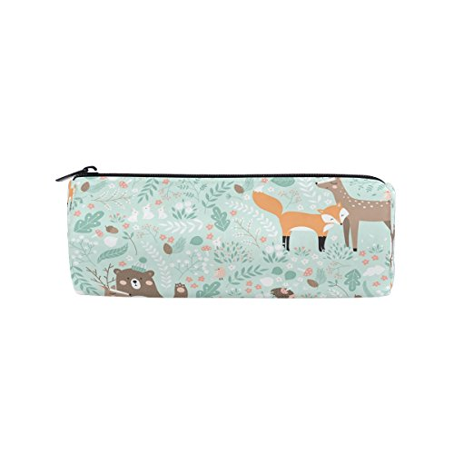 ALAZA Forest Animals Bear Deer Fox Rabbit Pencil Pen Case Pouch Bag with Zipper for Girls Kids School Student Stationery Office Supplies by ALAZA