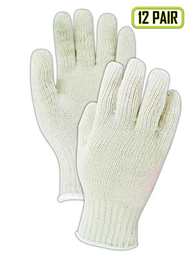 (Magid T1932 Seamless Cotton/Polyester Knit Gloves | Reversible 7 Gauge Gloves Work Great as a Glove Liner for BBQ - Washable, Ambidextrous - Large (12 Pairs))