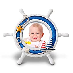 Josies Nautical Baby Picture Frame Decor 4x4 in, Diameter 9 in