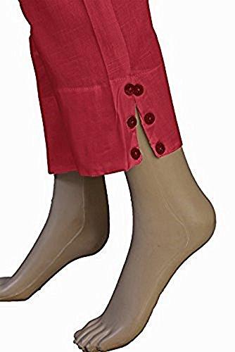 (SRP Linen Indian Authentic Cotton Women's Cigarette Pants (Red,)
