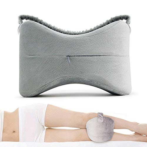 KCPer Leg Pillow Orthopedic Knee Pillow for Back Pain Leg Pain Pregnancy Memory Foam Wedge pillow for Hip Knee Support Wedge & Sciatica Nerve Pressure Relief (Gray)
