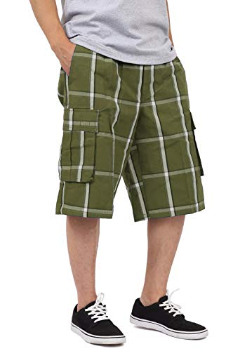 SP1756_4X Relaxed fit Plaid Cargo Shorts Olive 4X