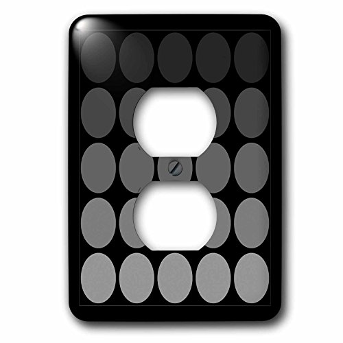 3dRose lsp_202438_6 Gray Tone Gradient Polka Dots On Black Background - 2 Plug Outlet Cover -