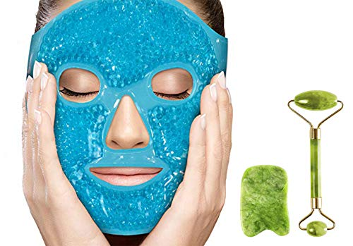 Puffy Eyes Gel Pack Mask with Jade Roller and Gua Sha Tool,100% Real Ficial Ice Jade Roller Anti Wrinkle Mask Therapy Pack Reusable Large for Face & Eye Puffiness Migraine Relief