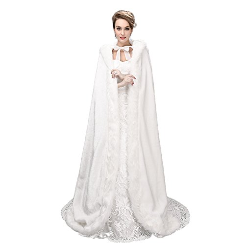 SK Studio Women's Faux Fur Winter Long Wedding Cloak Coat Jacket Bridal Wraps Cape]()