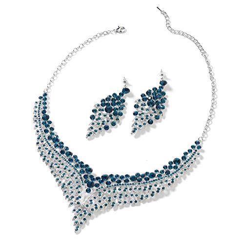 "Bridal Crystal Earrings and Statement Bib Necklace Jewelry Set for Women 20"" Cttw 49.2 (Turquoise)"