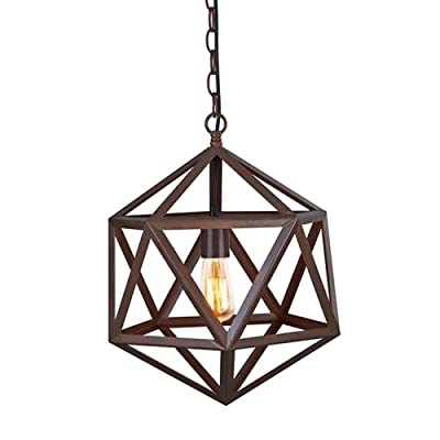 Ohr Lighting Edison Polyhedron Industrial Large Hanging Light pendant Cage Chain Adjustable Fixture , Matte Black