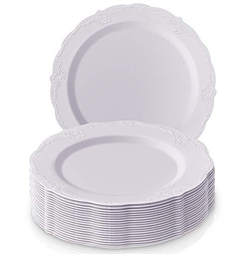 DISPOSABLE DINNERWARE SET, 20 Dinner Plates (Vintage - White, 10.25