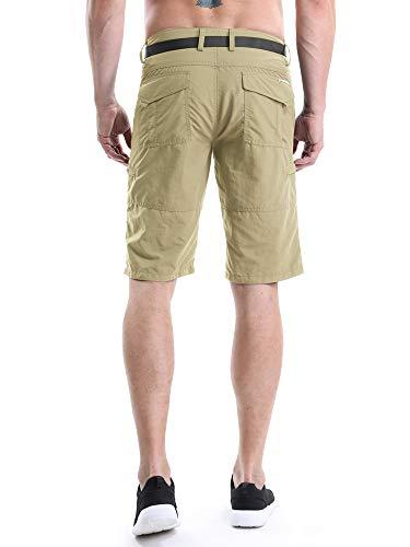 OCHENTA Men's Outdoor Expandable Waist Lightweight Quick Dry Shorts Khaki Tag 34 - US 32 by OCHENTA (Image #3)