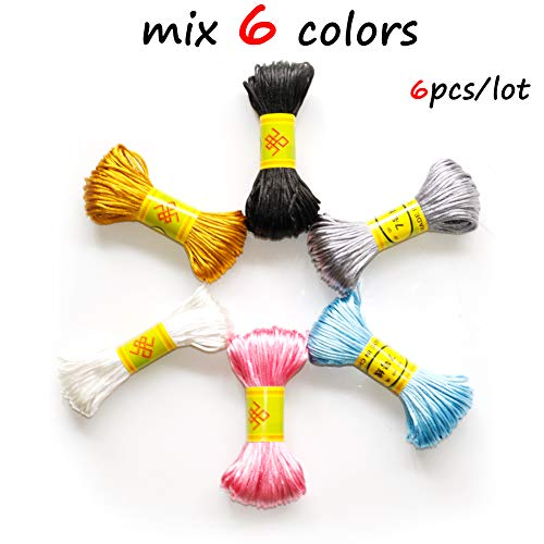 - 6 Bundles 130Yards 1.5mm Satin Cords 22Yards/Bundle DIY String Nylon Rope Accessary&Findings Baby Silicone Teething Bead Necklace Jewelry Cord
