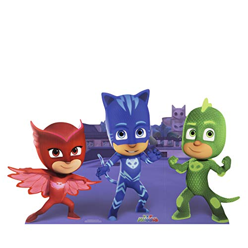 Mask Cut Out - Star Cutouts SC1161 Official Group Pose (PJ Mask Catboy Gekko Owlette) Party Large Cardboard, Multicolour