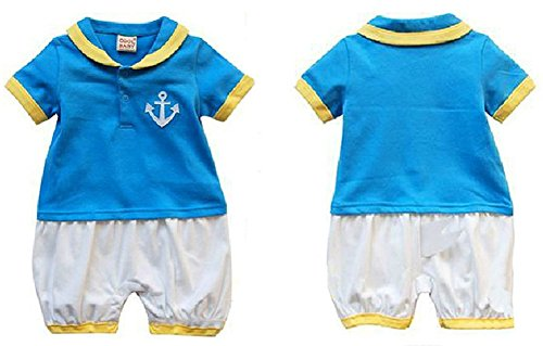 StylesILove Baby Boy Donald Duck Inspired Sailor Anchor Romper and Hat 2-pc Set (18-24 Months)