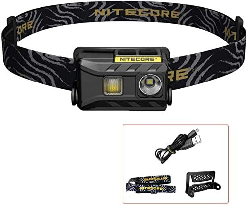 Nitecore NU25 - Linterna Frontal LED Recargable - USB Triple Salida Luz Blanco/Rojo/CRI - Lámpara de Cabeza Muy Ligera IP66 [ Acampar Correr Pesca Bicicleta ][Clase de eficiencia energética A]