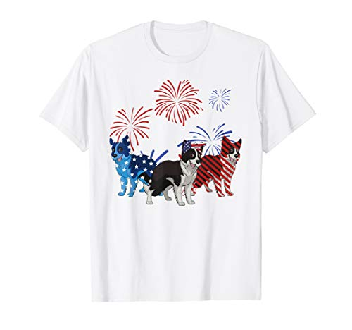 Red White Blue Border Collie American Flag 4th Of July -