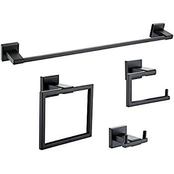 4 Piece Bathroom Hardware Accessory Set With 24 Towel Bar Matte Black Home Kitchen