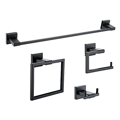 KES 4-Piece Bathroom Accessory Set Towel Bar Toilet Paper Holder Towel Ring and Robe Hook Matt Black Wall Mount SUS 304 Stainless Steel, LA24BK-42 (Black Ring Holder)