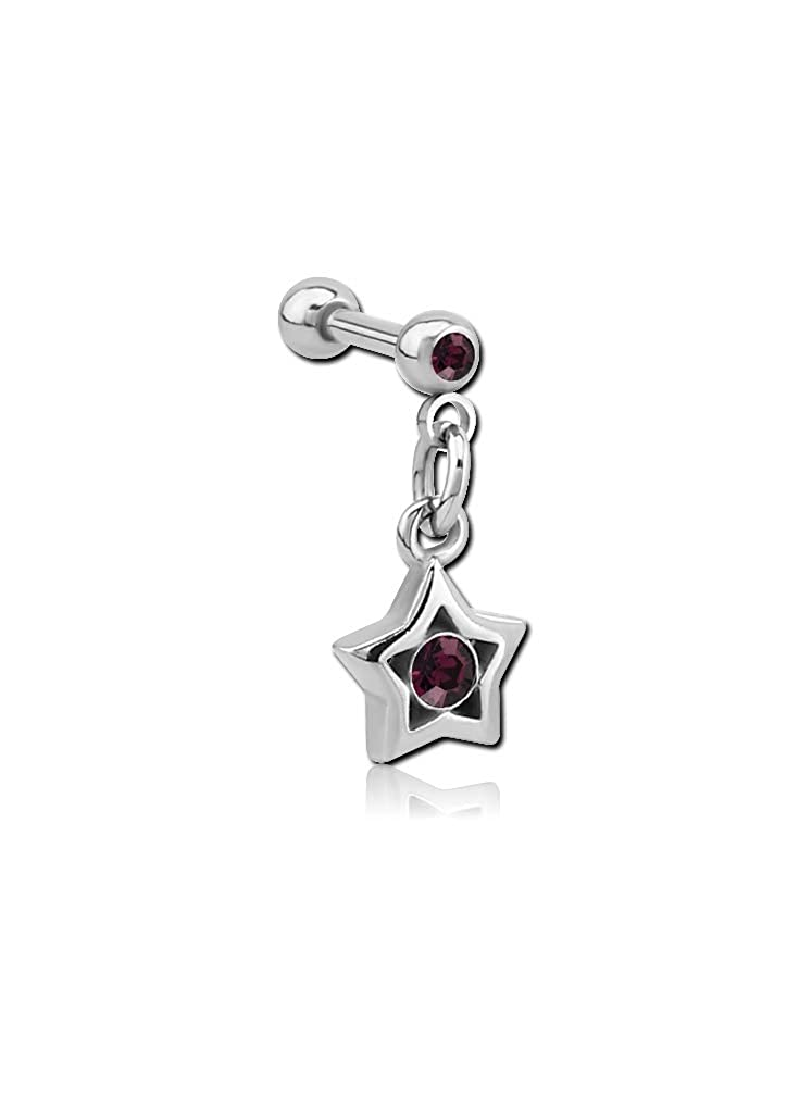 16g Star Gauge Bubble Body Piercing Surgical Steel Micro Barbell with Dangling Charm