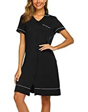 Ekouaer Short Sleeve Nightgowns for Women, Cute Pajama Top Buttom Down Sleep Shirt Dress