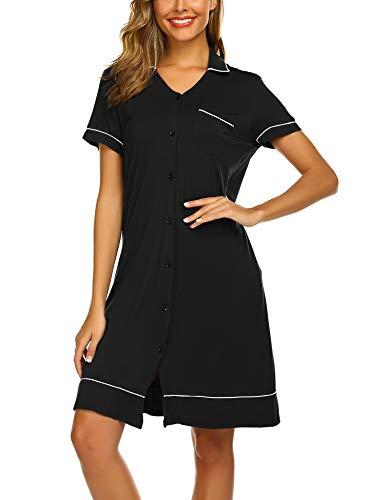 Ekouaer Black Women V Neck Nightshirt Short Sleeve Nightgown Button Front Pajamas Dress Shirts, Large