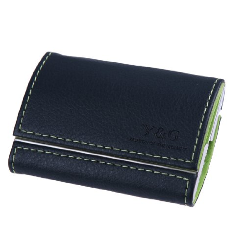 YDB01A11 Green Navy Blue Business Name Card Holder Aluminum Case Series Gift For Men By Y&G for $<!--$8.76-->