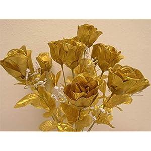 """Phoenix Silk Rose Buds Bush 14 Artificial Flowers 19"""" Bouquet 265 Gold 3"""