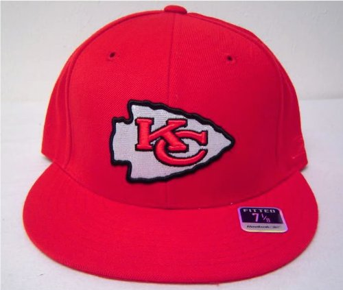 Size 8 NFL Kansas City Chiefs Logo on Red Flat Bill Fitted Cap