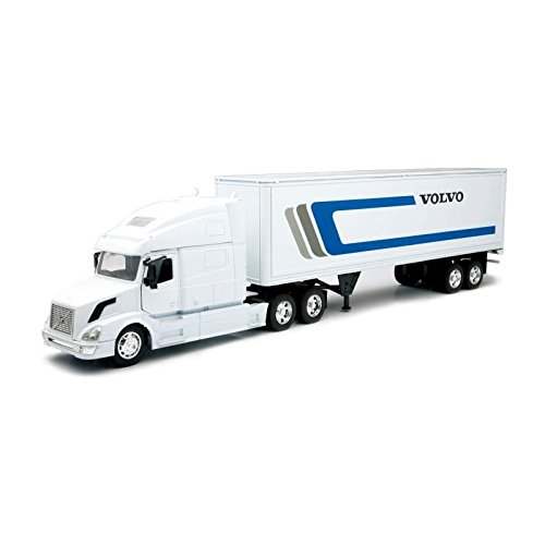 (Newray Volvo Tractor and Trailer VN-780 1/32 Scale Pre-Built Model Semi Truck White )