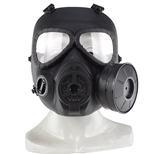 PeleusTech® WST Head Mask Full Face Single Canister Electric Ventilative Biochemical Gas Mask[No Actual Anti-Virus Function] Toys Masks for Children, Cosplay,Halloween and Party - (Black) -