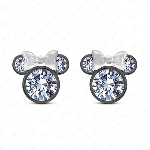 (Gemstar Jewelley White Simulated Diamond Disney Minnie Mouse Earrings 925 Silver 14k Two Tone Gold Plated)
