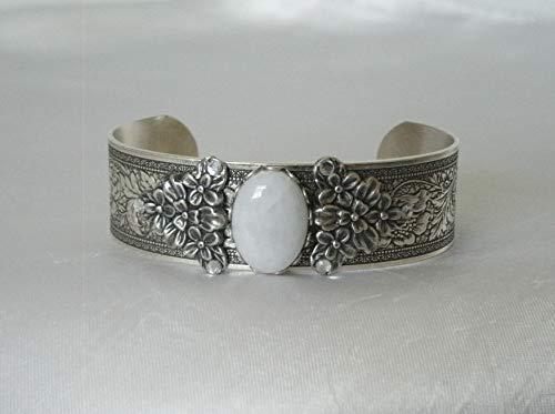 Moonstone Cuff Bracelet, handmade jewelry art nouveau victorian art deco edwardian renaissance