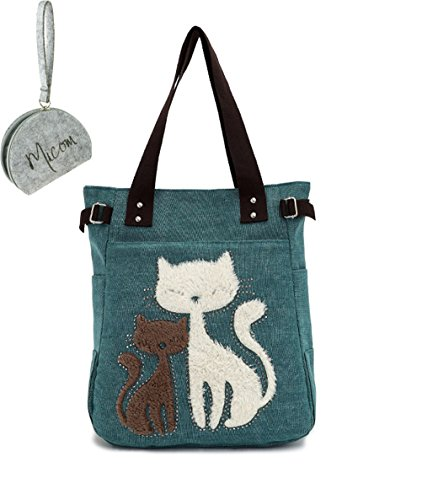 Micom 2016 Casual Cute Two Cats Embroidered Canvas Tote Bag Shoulder Handbag for Women,girls with Micom Zip Pouch (Cat Suite)