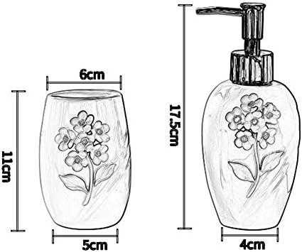 FXin バスルームアクセサリー、ヨーロッパのバスルームセラミックスマグカップスーツカップル歯ブラシカップバスルームウォッシュセットバスルームセット6ピンク シャワー室