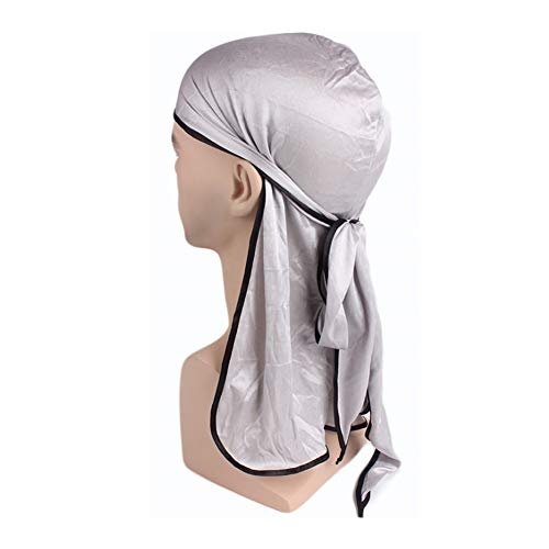 2 Pieces Velvet Durag and 2 Pieces Silky Soft Durag Cap Long Tail Beanies and Wide Straps for Men Women 2 Style
