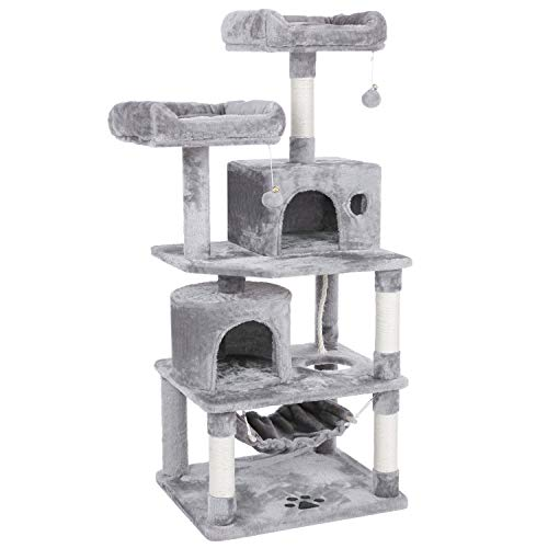 BEWISHOME Cat Tree with Sisal Scratching Posts, 2 Condos, Plush Perches, Jingly Balls and Hammock, Cat Condo Tower Furniture Kitty Kitten Activity Center Pet Play House Light Grey MMJ01G