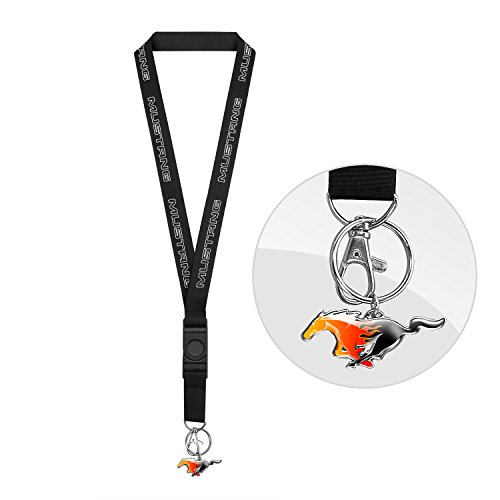 Charm Mustang - Ford Mustang Black Lanyard with Flame Pony Key Charm by iPick Image