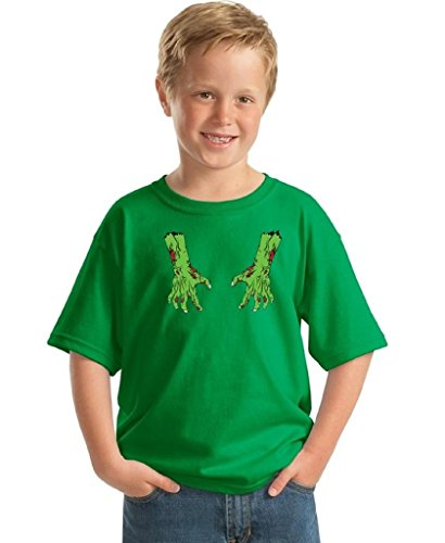 Youth Halloween Shirt Bloody Zombie Costume For Kids Dead Hands T-shirt XL Green (Hocus Pocus Witch Childrens Costume)