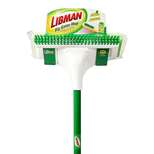 Butterfly Sponge Mop - Libman Redesigned Heavy-duty Butterfly Style Big Gator Sponge Mop with Scrub Brush, Now with Extra Absorbent Tear Resistant Sponge with Powder-Coated Steel Handle!