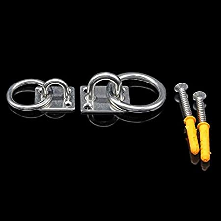 M5//M6//M8 duradero 2 piezas de accesorios de acero inoxidable para barco seguro con tornillos anillos para placa de barco para barco//marino plateado