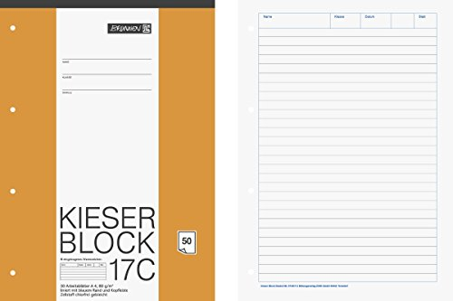 Brunnen 1042927 KIESER-Block Lineatur 21 (A4, 50 Blatt, liniert, 80g/m², gelocht)