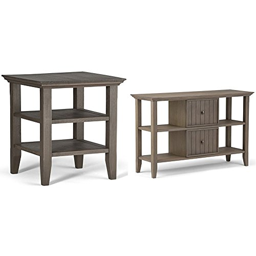 Simpli Home Acadian End Side Table, Farmhouse Grey + Simpli