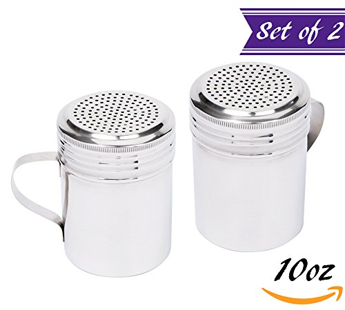 (Set of 2) 10-Ounce Stainless Steel Dredge Shaker with Handle by Tezzorio, Commercial Grade Spice Dredge Shaker for Restaurants Baking / Cooking (Steel Shakers Stainless Condiment)