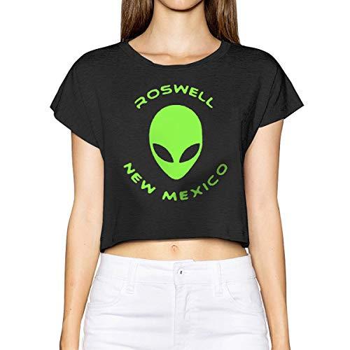 - BAFBJ Roswell New Mexico Alien Female Short Sleeve Leak Navel Tees Crew Neck Blouses Tops Tees Black