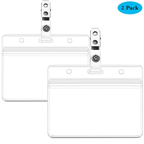 - Waterproof Horizontal ID Badge Holder Horizontal Clear PVC Name Holder Tags with Badge Clip Straps (2 Pack,Horizontal)