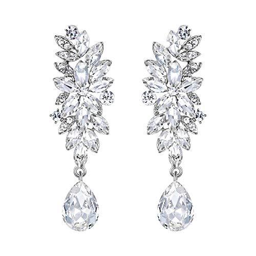 BriLove Womens Bohemian Cluster Crystal Wedding Bridal Floral Marquise Shape Teardrop Dangle Earrings