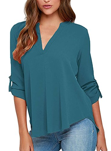 Face N Face Women's Summer V Neck Solid Loose Casual Cuffed Long Sleeve Blouses Lake Green S